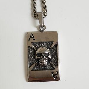Skull dog tag necklace